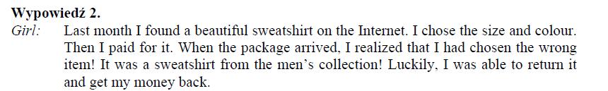 Źródło: Arkusz egzaminacyjny CKE 2020, zadanie 1 (transkrypcja).
